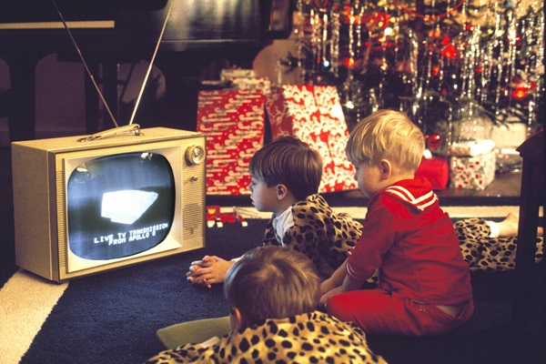 Thanks to NASA's public relations team, the Moon missions were a must-watch event for millions across the globe. Here, children tune in to live coverage of Apollo 8 on Christmas Eve 1968.