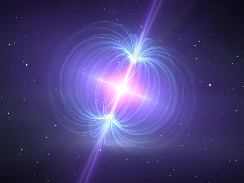 Illustration of a magnetar with blue magnetic field lines